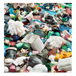 A pile of discarded plastic products demonstrating the amount of plastic that is wasted every year.