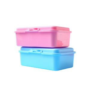 Plastic lunch boxes commonly used by children and adults to carry their food while at school or work.